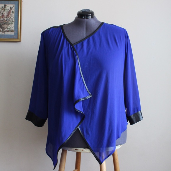 City Chic Sweaters - City Chic Blue Draped Cardi w/ Faux Leather Trim